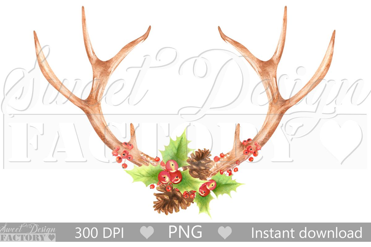 Watercolor Antlers clipart , christmas sublimation design example image 1