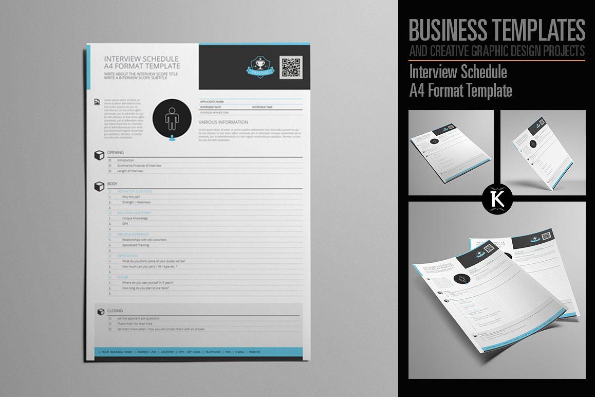 Interview Schedule A4 Format Template