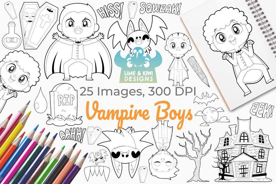 Vampire Boys Digital Stamps example image 1