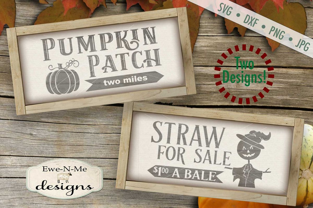 Pumpkin Patch Straw For Sale Scarecrow SVG DXF Files example image 1