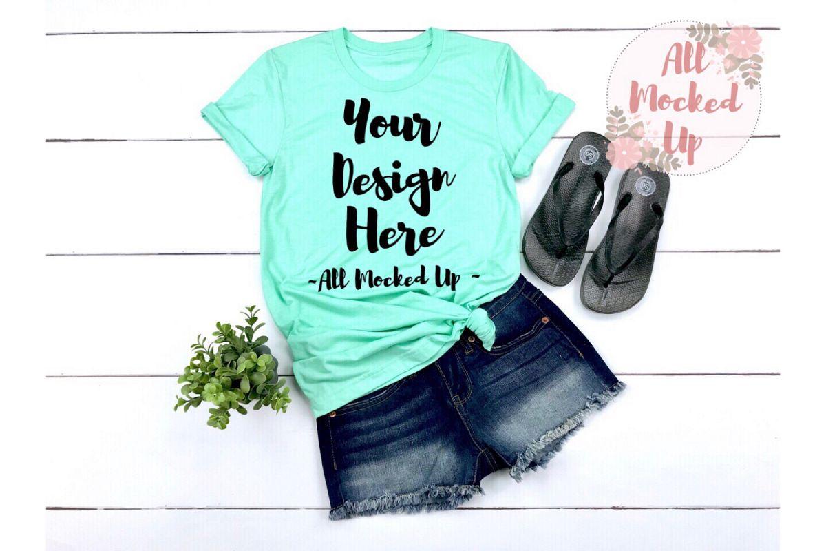 Bella Canvas 3001 / 3413 MINT Shirt Mock Up - 3/19 example image 1