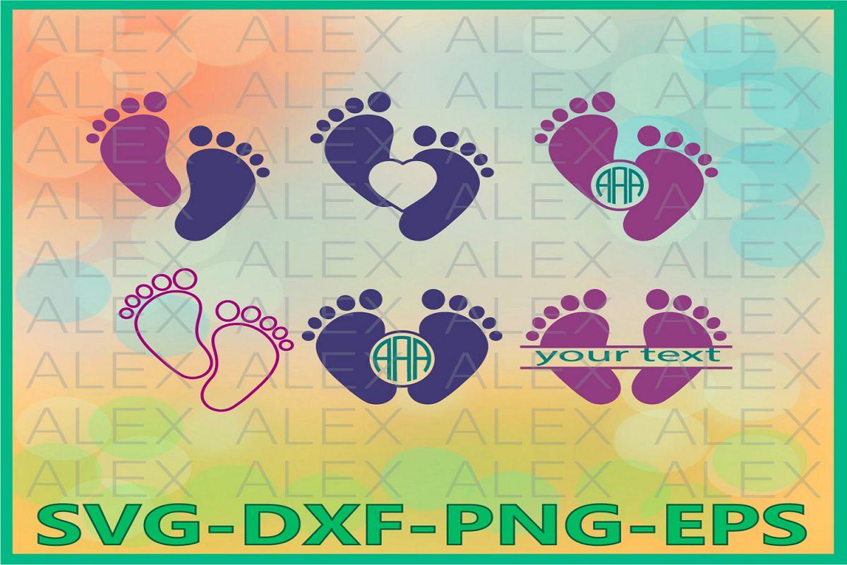 Baby Feet Svg, Baby Monogram Svg example image 1
