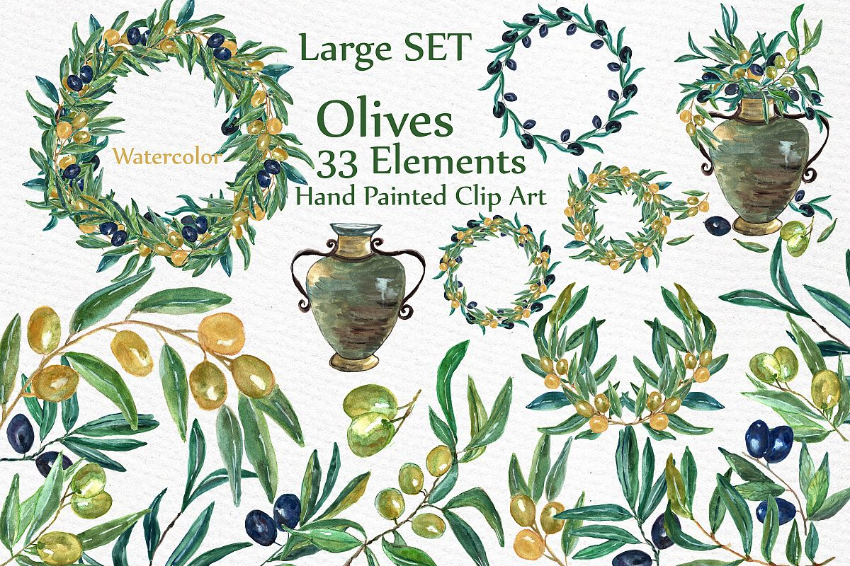 Watercolor Olive clip art set example image 1