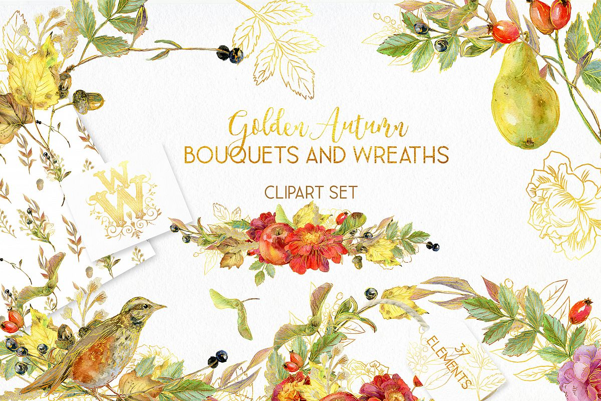 Watercolor autumn bouquets and wreaths example image 1