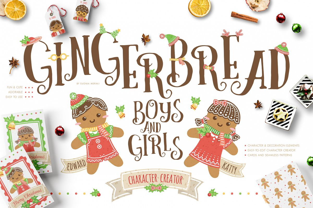 Gingerbread Boys and Girls - Christmas Character Creator example image 1