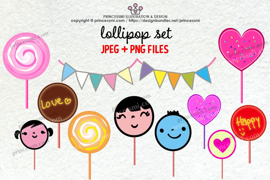 Cute lollipop clipart set example image 1