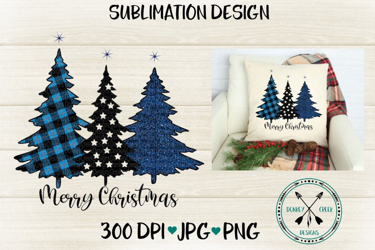 Police Thin Blue Line Christmas Trees Sublimation Design example image 1