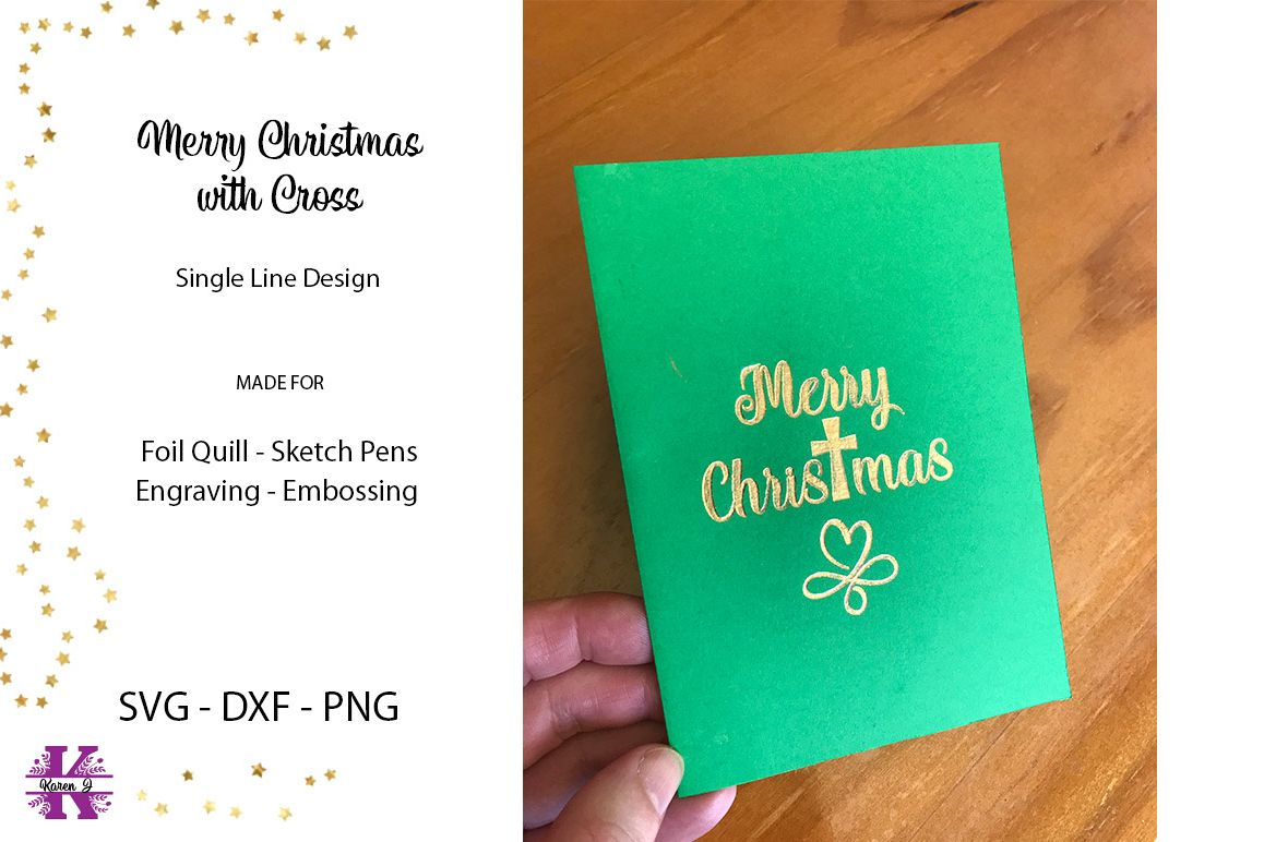 Merry Christmas with Cross for Foil Quill|Sketch Pen example image 1