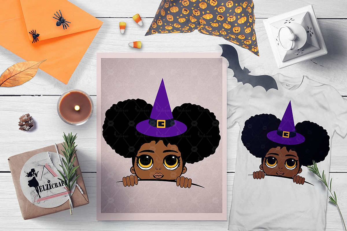 Halloween Peeking Witch Afro Girl SVG Cut File example image 1