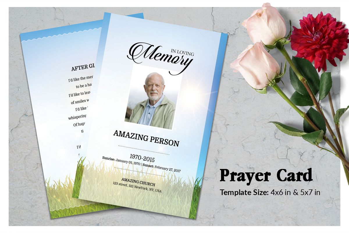 Sky and Grass Funeral Prayer Card Template example image 1
