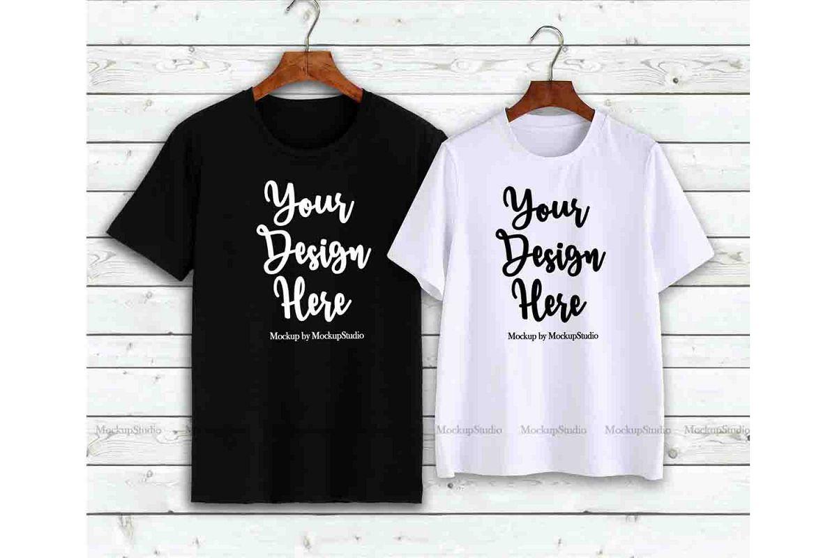 1daeb08030 Couple T-Shirts Mockup, Matching Couples Shirts On Hangers example image 1