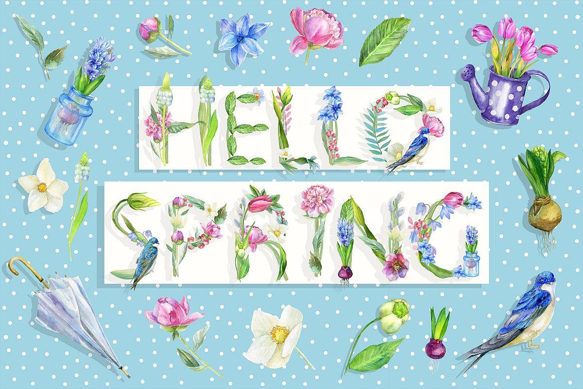 Watercolor spring clipart, Easter illustration, flower