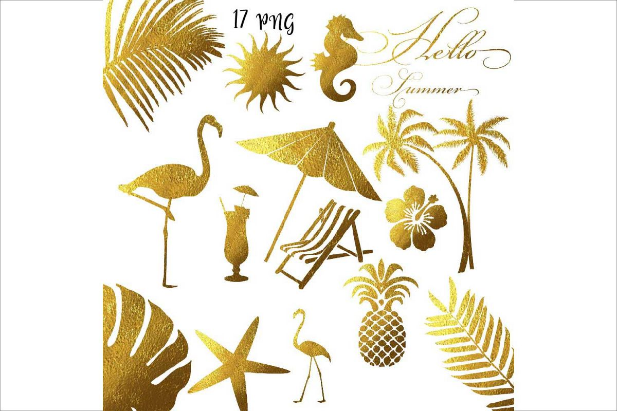 Gold Foil Summer Clipart example image 1