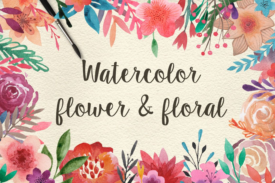 159 Watercolor flowers & florals example image 1