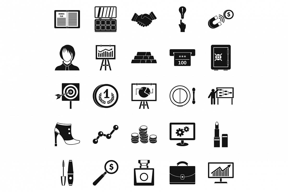 Symposium icons set, simple style example image 1