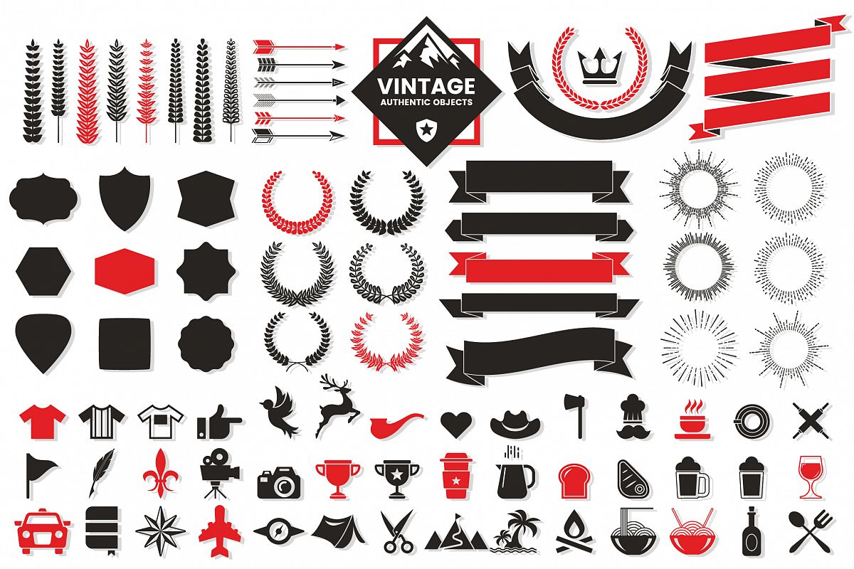 Vintage Badge & Objects Vector Set example image 1