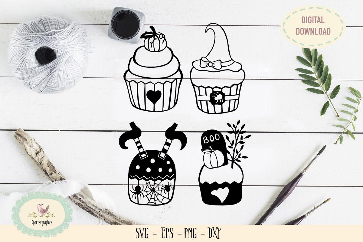 Halloween cupcakes bundles SVG PNG example image 1