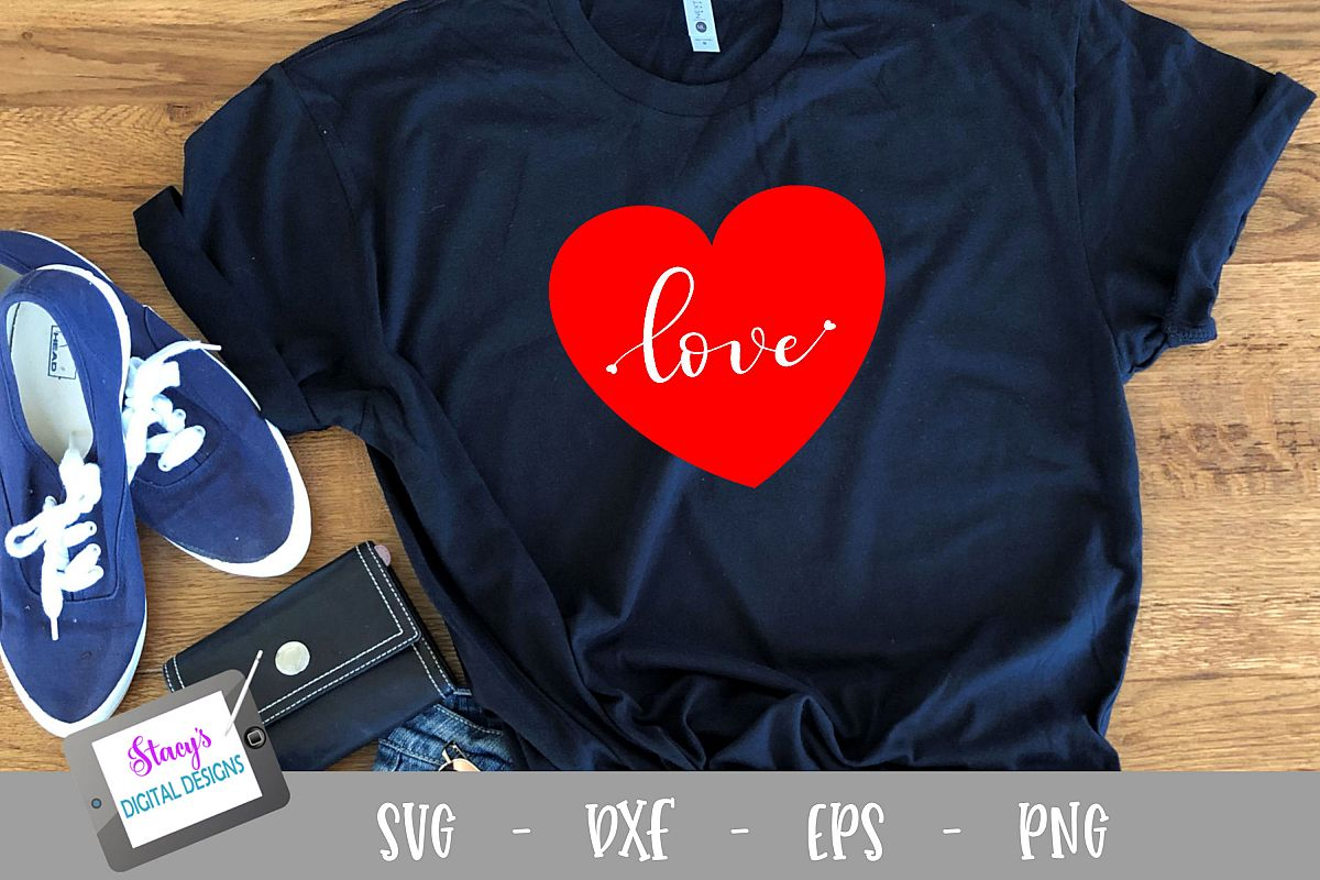Heart SVG - Handlettered love SVG with tiny hearts cut file example image 1