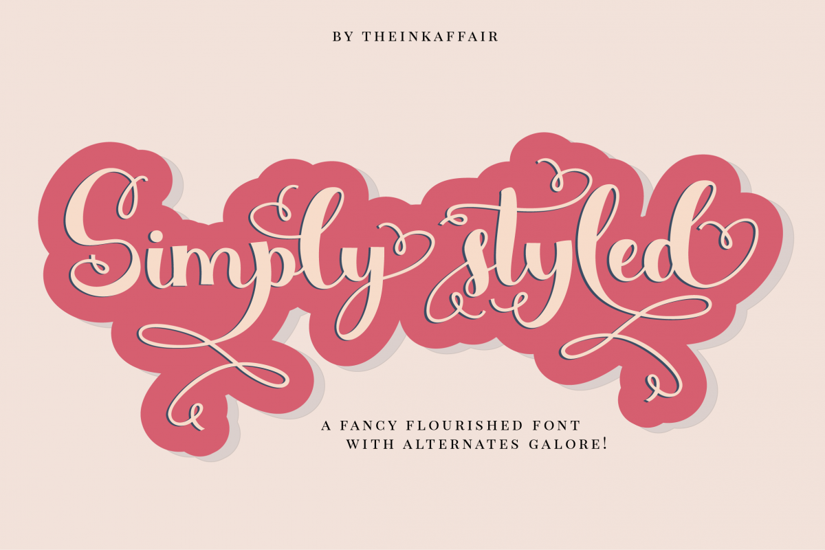 Simply Styled, a flourished ornamental script font example image 1