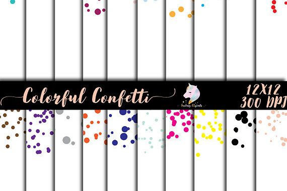 Colorful Confetti Overlay Clipart example image 1