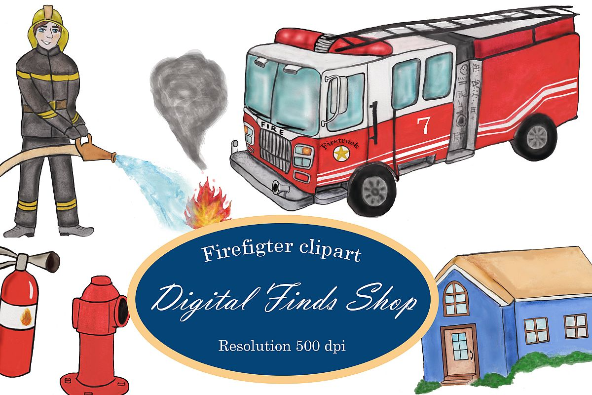 Firefighter clipart, fireman clipart, fire truck clipart PNG example image 1