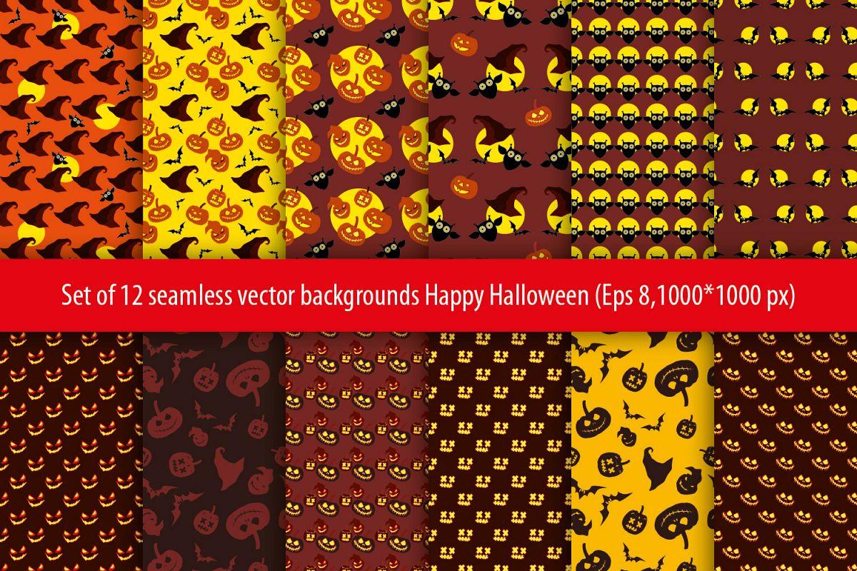 Set of 12 seamless vector backgrounds Happy Halloween.  example image 1