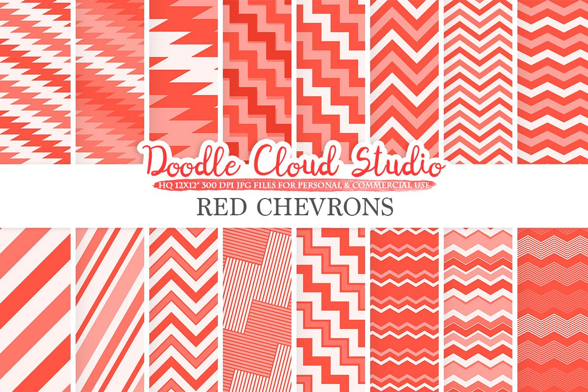Red Chevron digital paper, Chevron Stripes Scarlet patterns, Zig Zag lines Vermilion backgrounds, Instant Download Personal & Commercial Use example image 1