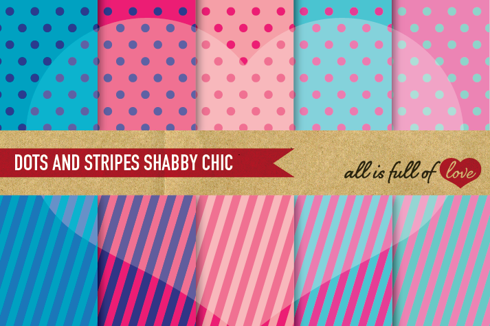 Pink And Blue Background Patterns Polka Dots Stripes Digital Paper Pack