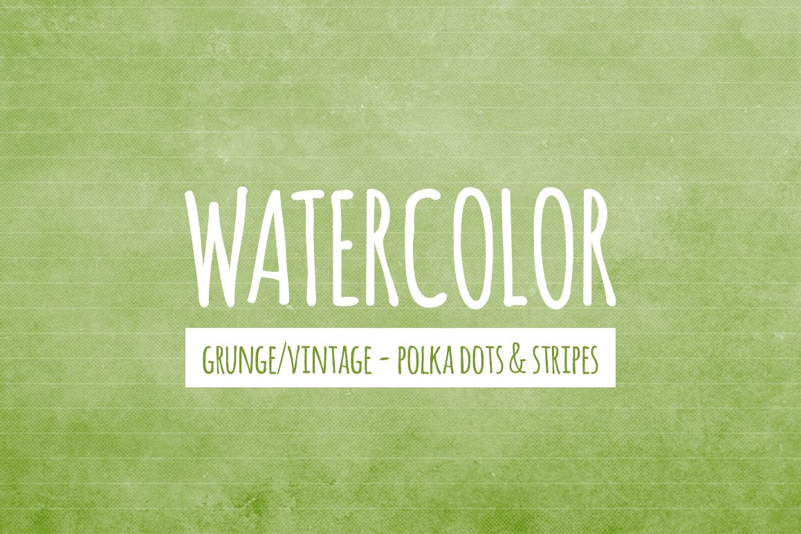 Watercolor Texture Backgrounds With Dots & Stripes - Green example image 1