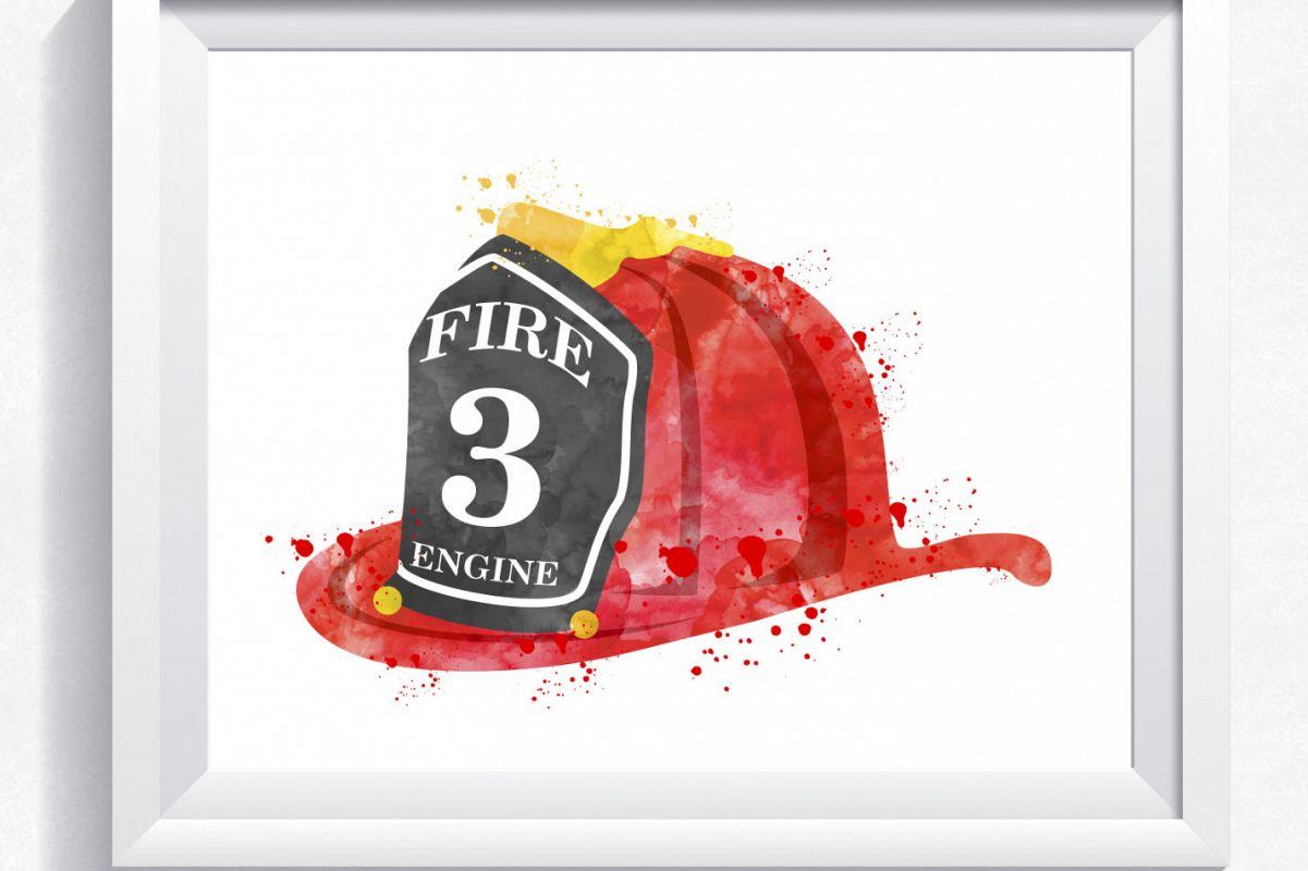photo regarding Fireman Hat Printable known as Watercolor fireplace helmet printable, firehelmet wall artwork, fireman hat print, rescue helmet print, boy bed room wall artwork