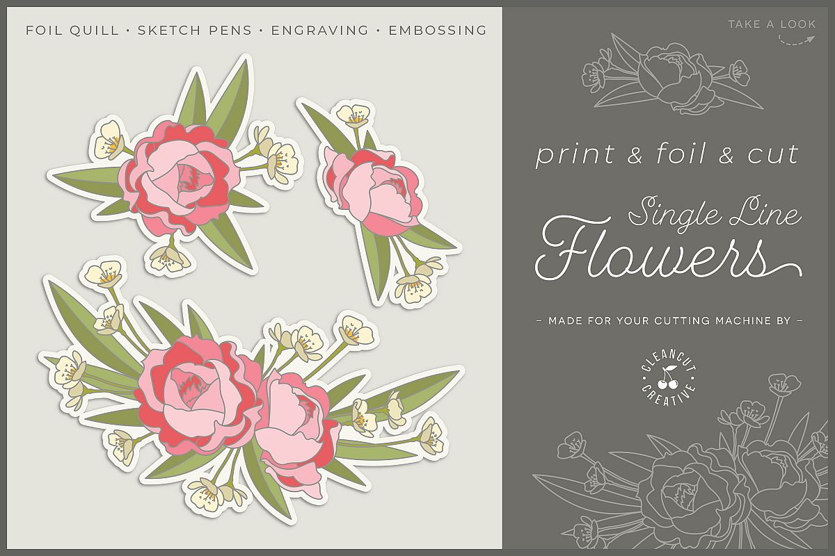 Foil Quill Flowers | Print & Foil single line sketch design example image 1