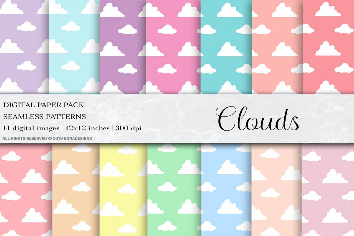 Pastel Clouds Seamless Patterns, Clouds Patterns example image 1