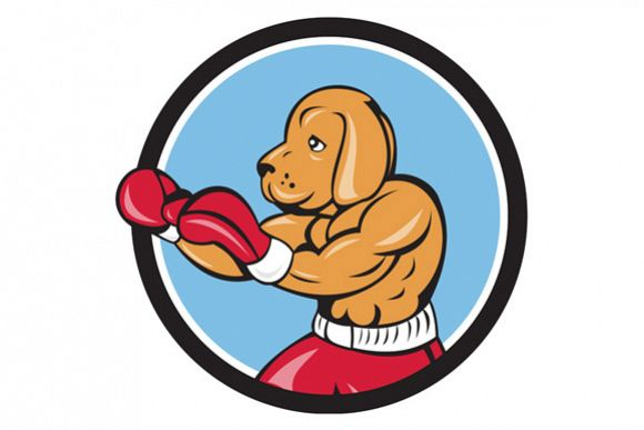 Dog Boxer Fighting Stance Circle Cartoon example image 1