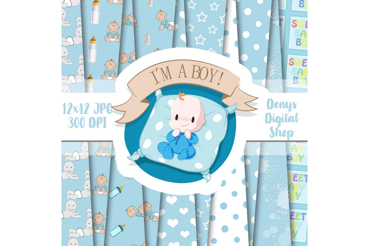 Baby Boy, Baby Shower, Blue Baby Patterned, Scrapbook,50OFF example image 1