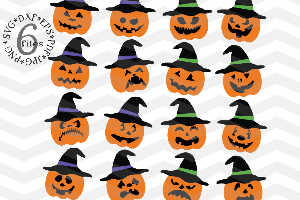 Pumpkin hat svg - Spooky pumpkin faces cutting files example image 1