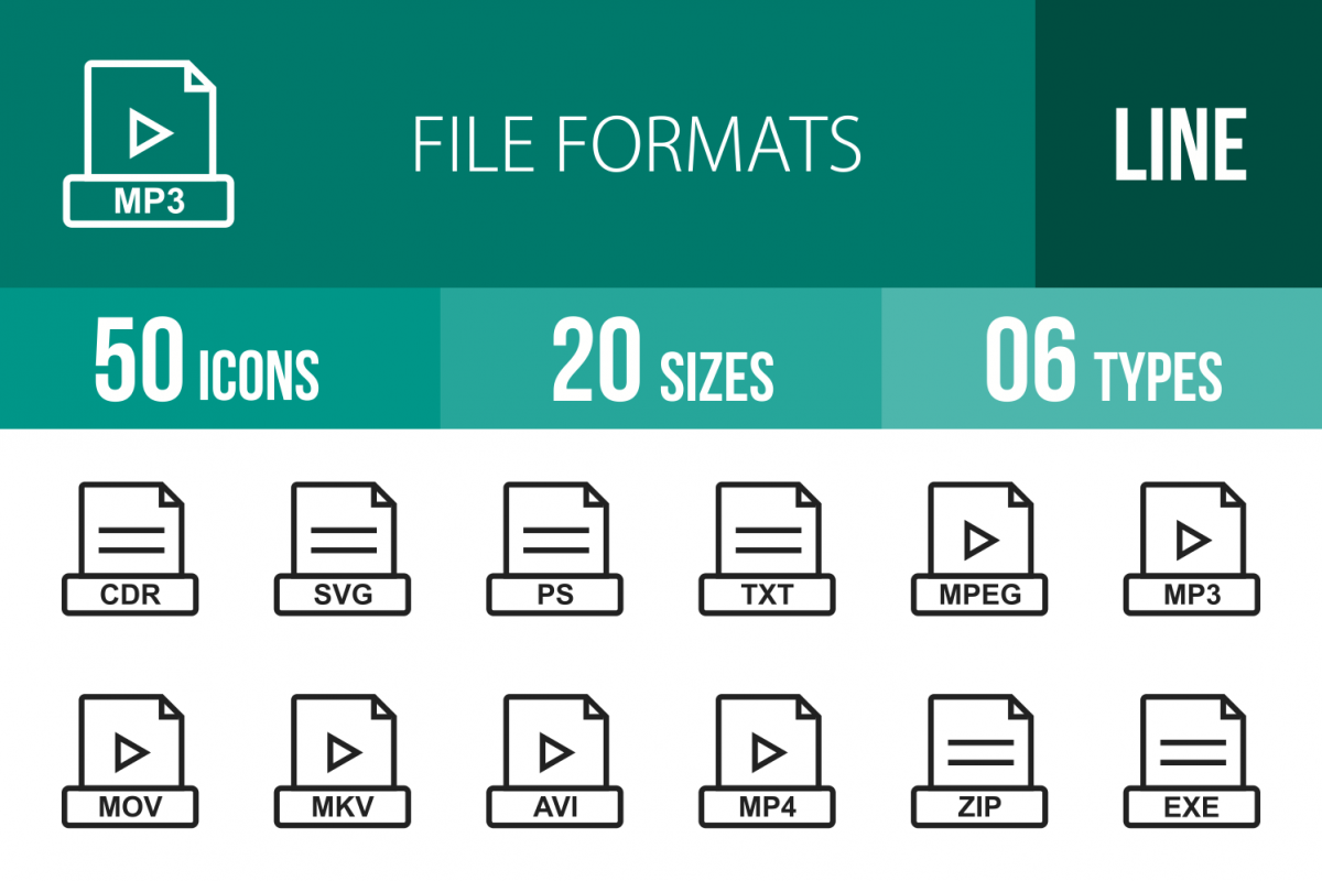 50 File Formats Line Icons example image 1