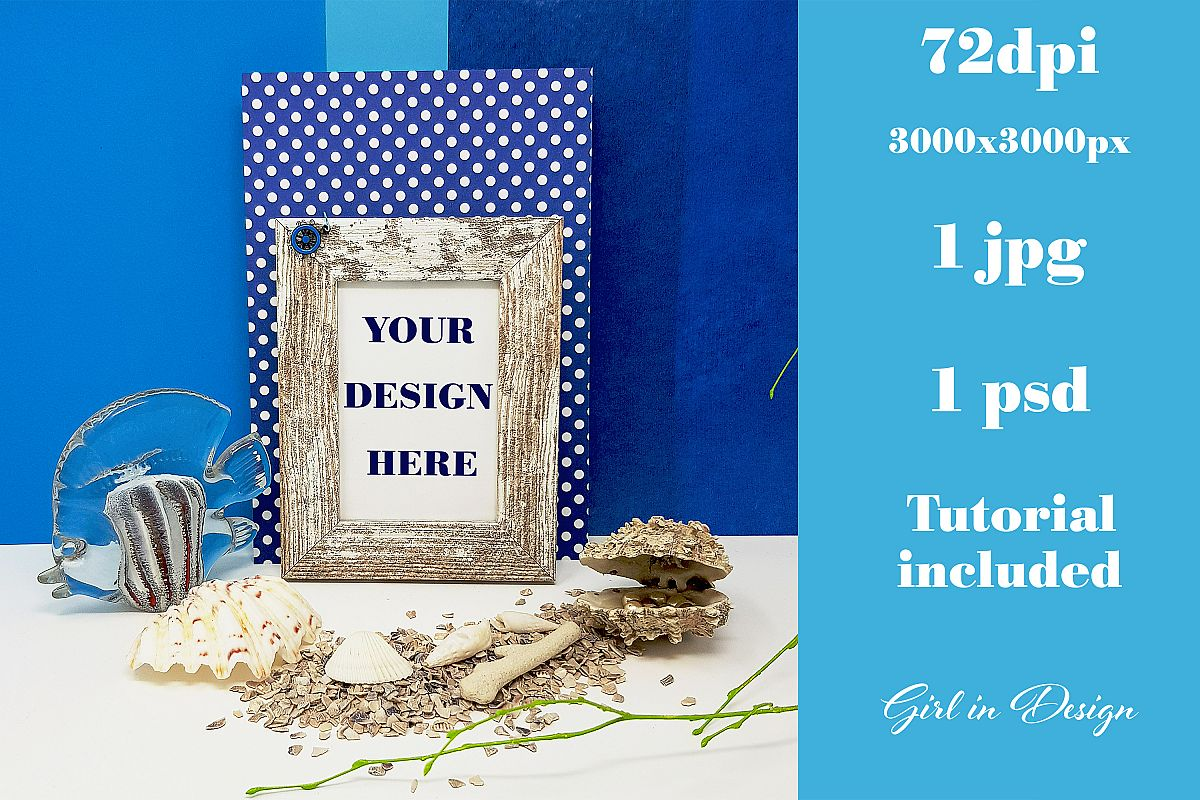 Feminine Beach Frame Mockup with Fish and Shells example image 1