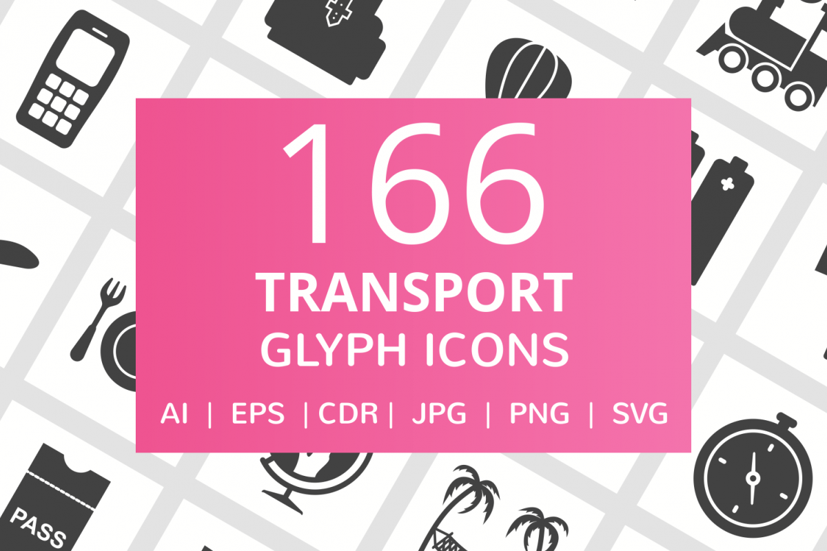 166 Transport Glyph Icons example image 1