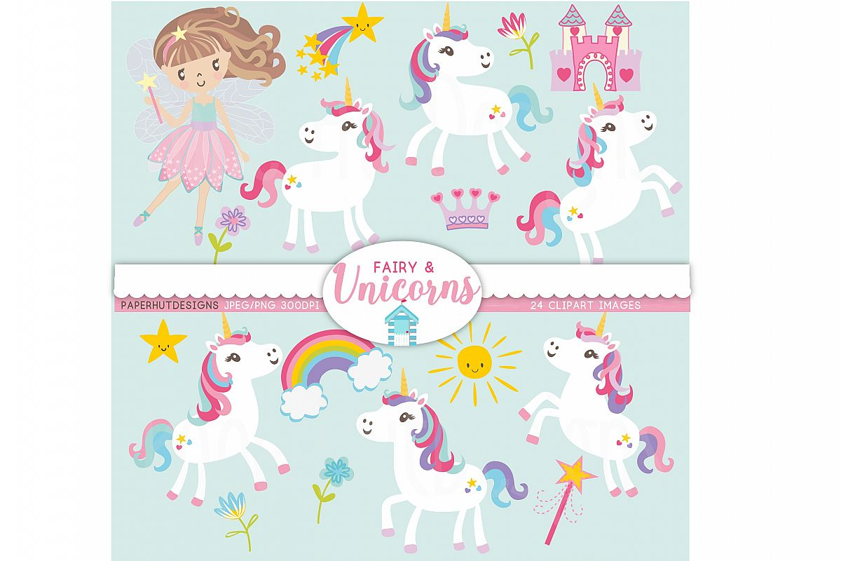 Unicorns and Fairy Clipart example image 1