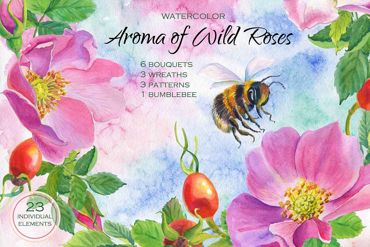 Aroma of Wild Roses. Watercolor set. example image 1