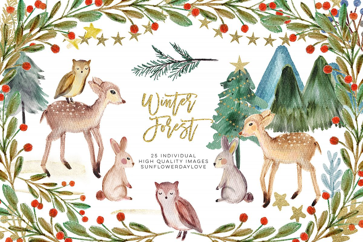 Winter woodland. Animals clipart watercolor pine