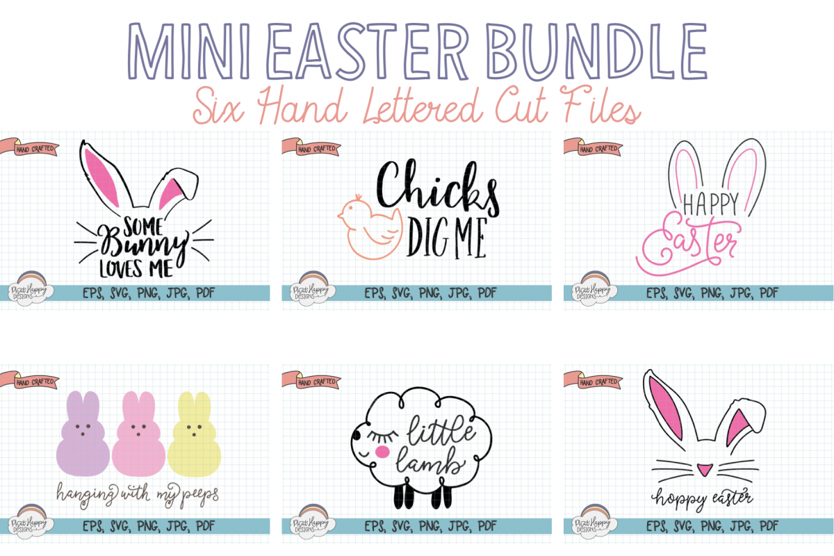 Mini Easter Bundle - 6 Hand Lettered Cut Files example image 1