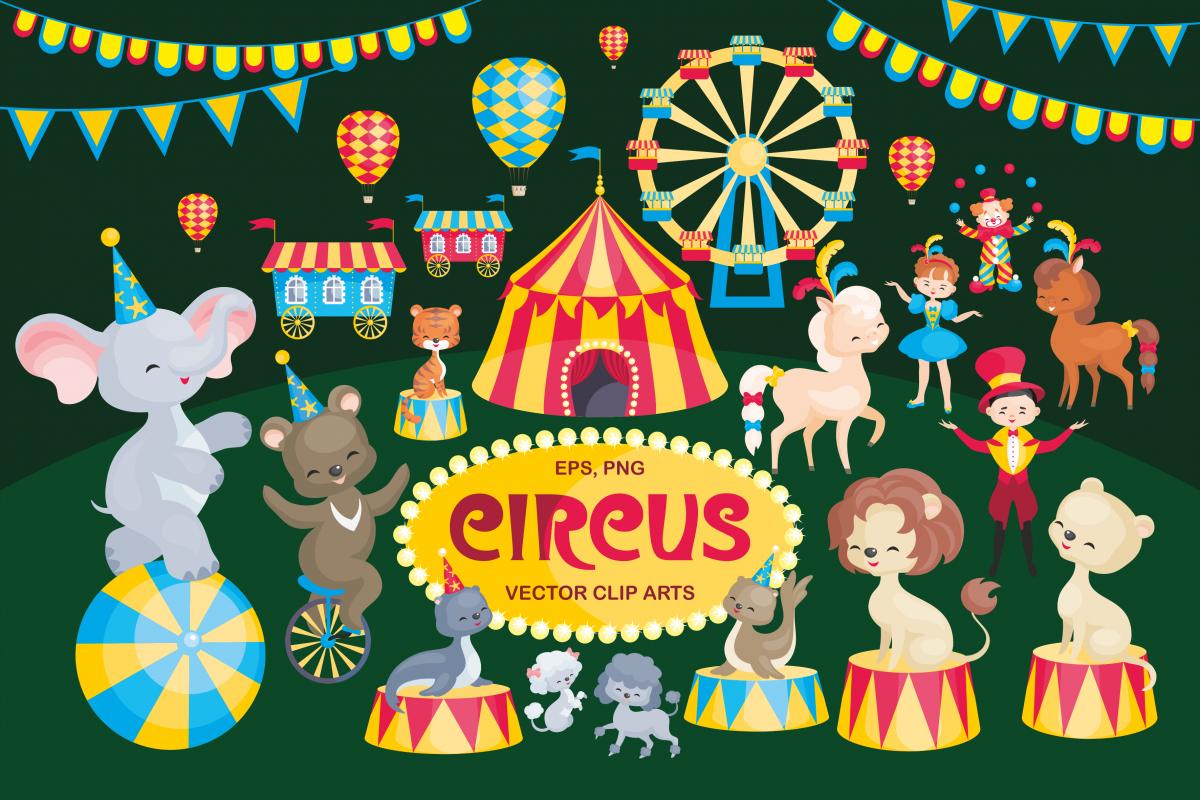 Circus. Vector clip arts. example image 1