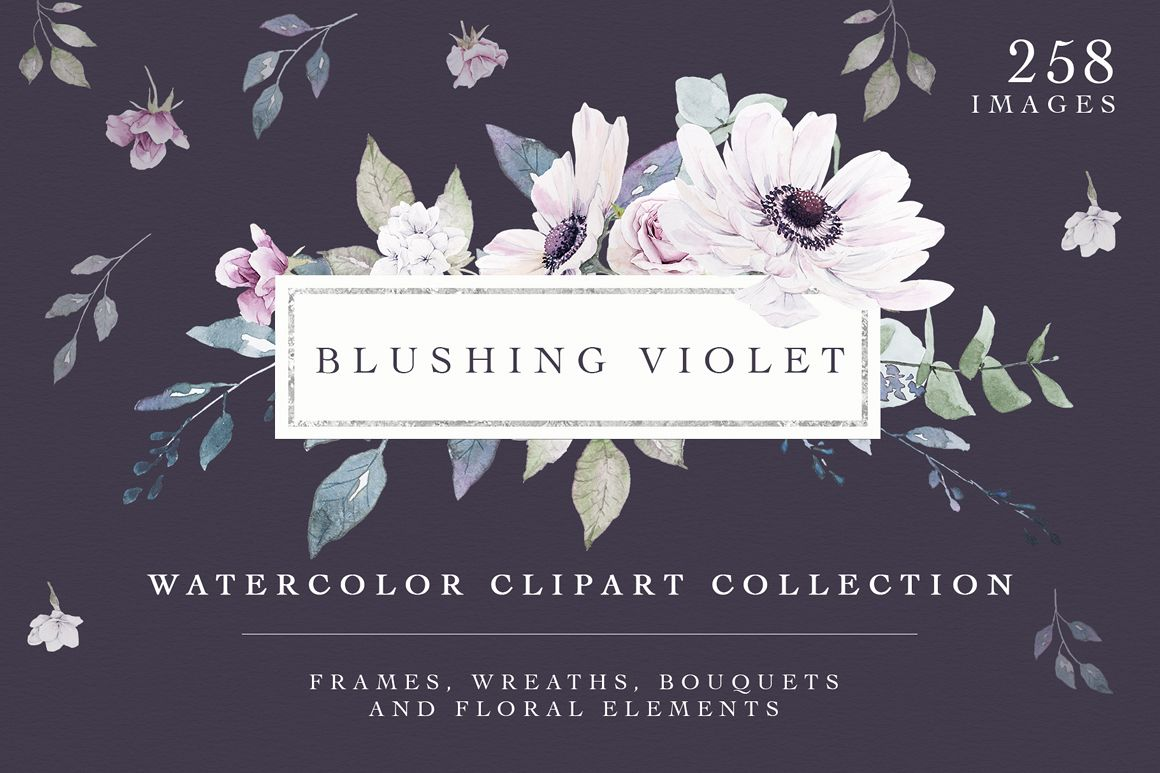 Blushing Violet Watercolor Clipart Collection example image 1