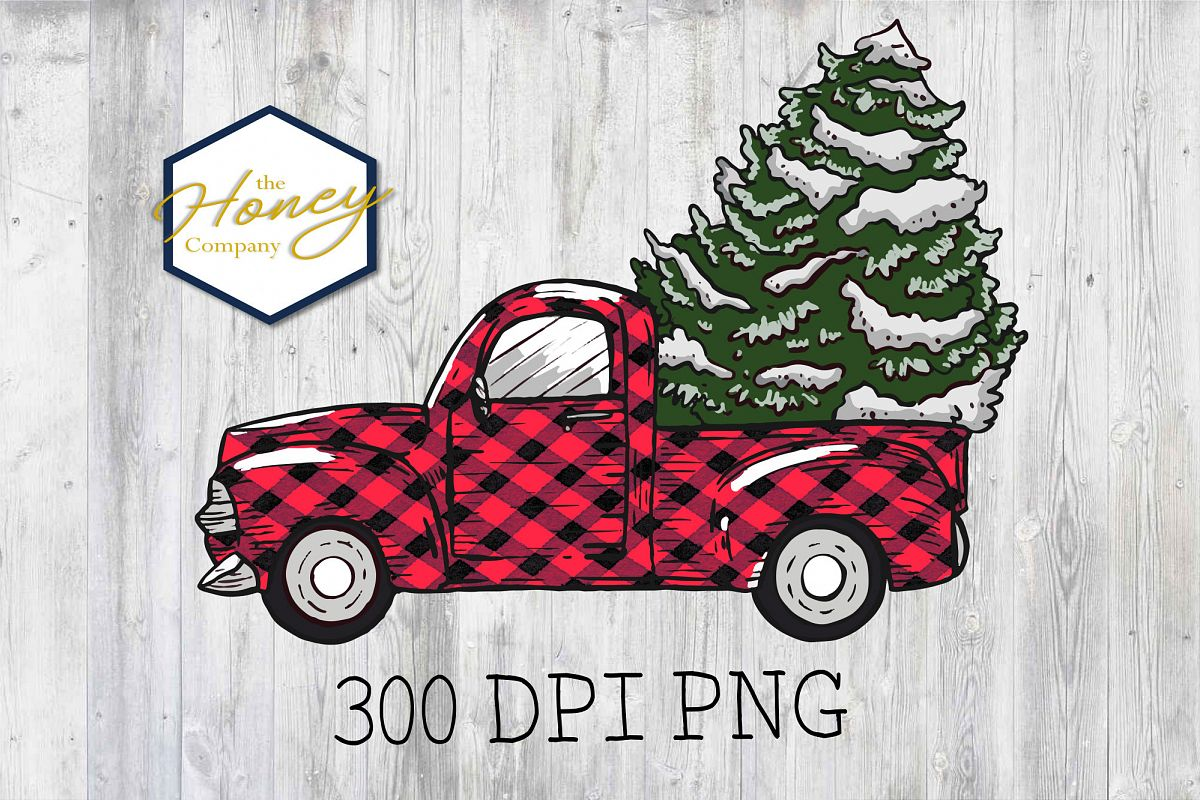 Plaid Vintage Truck Christmas Tree Holiday PNG Clipart example image 1