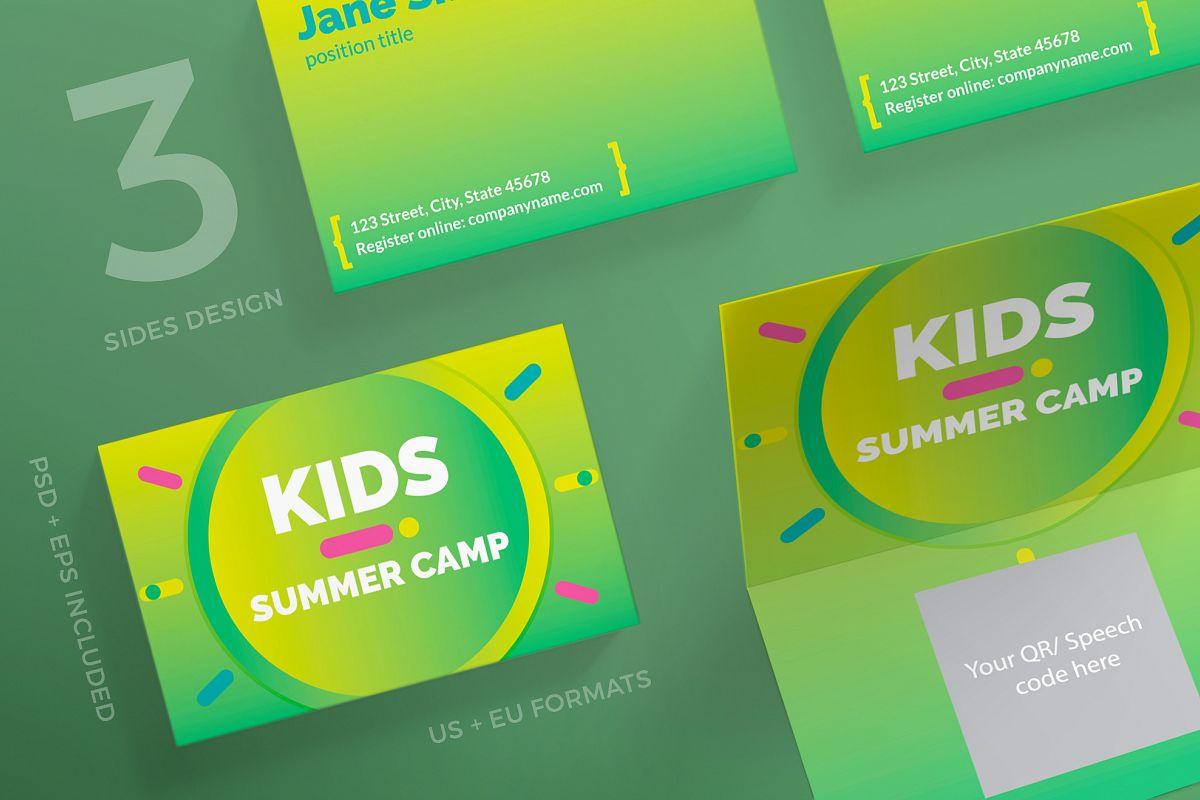 summer kids camp business card design templates kit example image 1 - Kids Business Cards