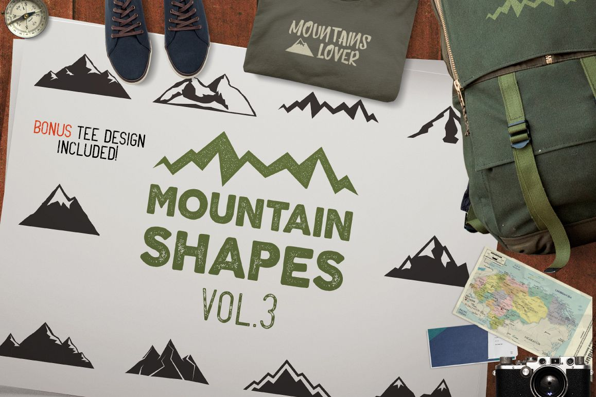 Mountain Shapes & Tee Design Vol.3 example image 1