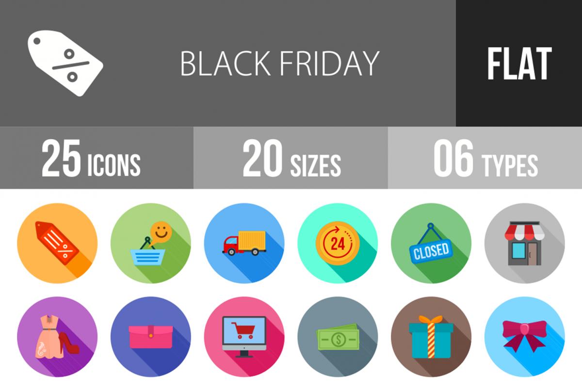 25 Black Friday Flat Long Shadow Icons example image 1