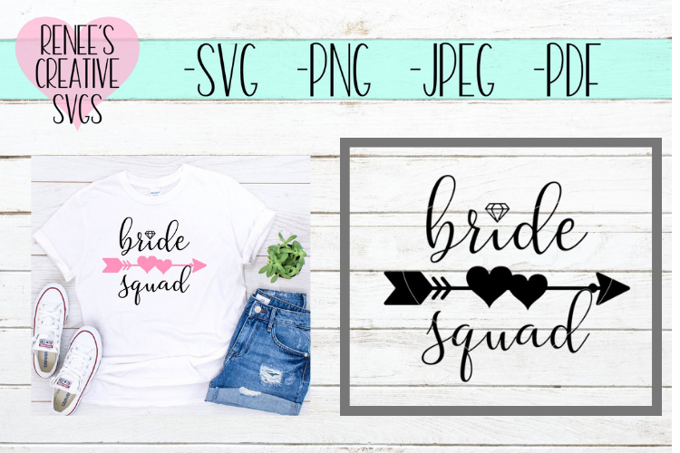 Bride Squad   Wedding   SVG Cutting File example image 1