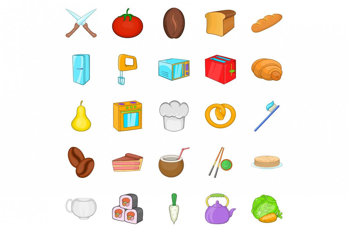 Pie icons set, cartoon style example image 1